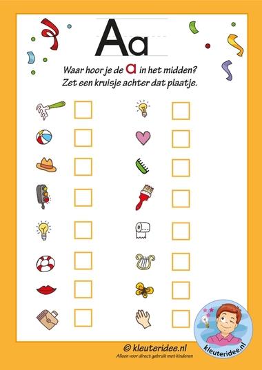 Pakket over de letter a blad 9, in welk woord hoor je een a in het midden, letters aanbieden aan kleuters, kleuteridee.nl, free printable.