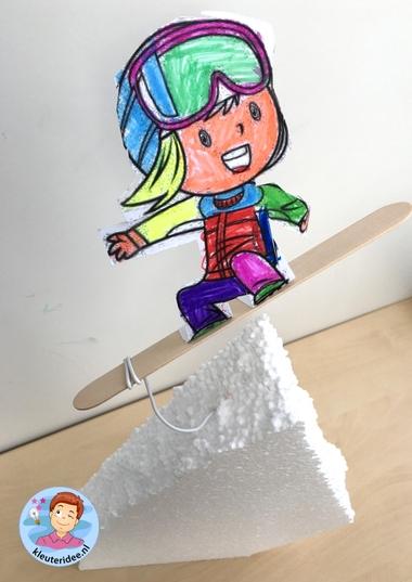 Snowboarder knutselen, kindergarten sowboarding kids craft, mountains theme, thema bergen, kleuteridee