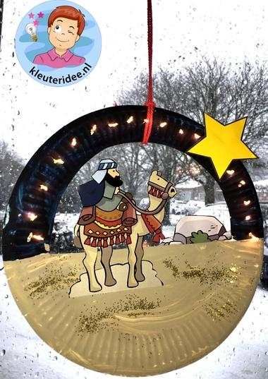 raamhanger knutselen kerst, wijzen uit het oosten, kleuteridee.