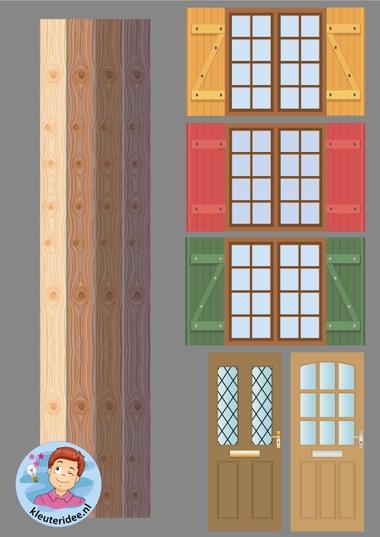 ramen, deuren, planken, chalet, kleuteridee