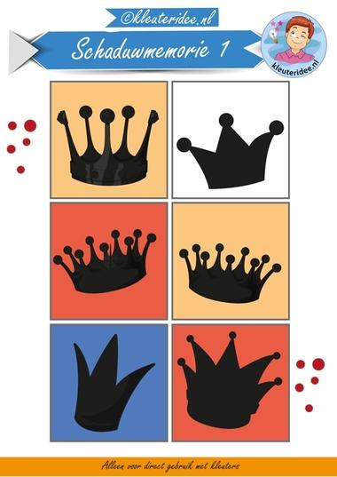 Schaduwmemorie bij thema koningsdag 1, kleuteridee.nl, Crownmemory free printable..