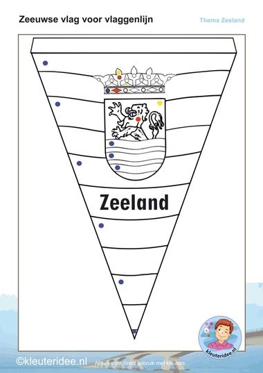 Zeeuwse vlaggenlijn,ieder kind maakt een vlag, thema Zeeland voor kleuters, kleuteridee.nl, free printable.