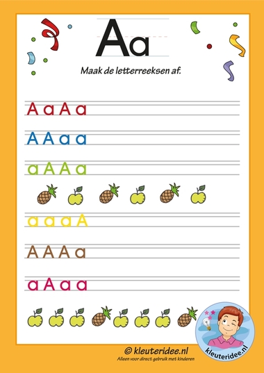 Pakket over de letter a blad 11, maak de letterreeksen af, letters aanbieden aan kleuters, kleuteridee.nl, free printable.