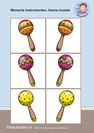 Muziekinstrumenten memorie 3, thema muziek, kleuteridee.nl, Kindergarten music memory game, free printable.