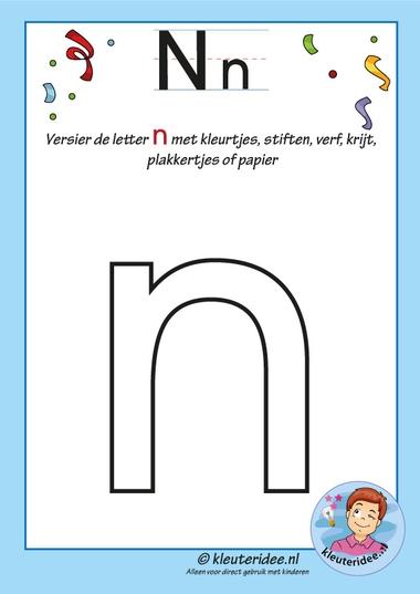 Pakket over de letter n blad 5, versier de n, kleuteridee, free printable