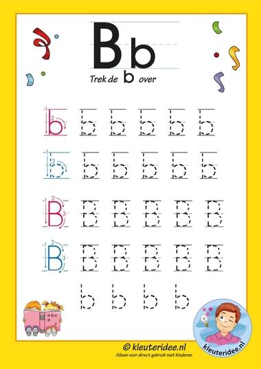 Pakket over de letter b blad 7, trek de letter b over, letters aanbieden aan kleuters, kleuteridee.nl, free printable.