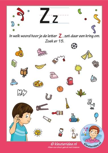 Pakket over de letter z blad 8, in welk woord hoor je een z, letters aanbieden aan kleuters, kleuteridee, free printable k