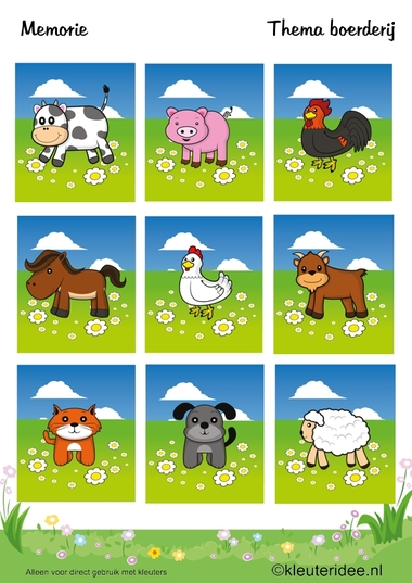 Memorie , thema boerderij, kleuteridee , Preschool game, farm theme, free printable.