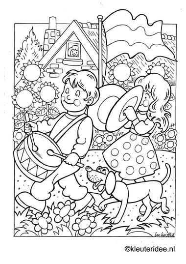 Kleurplaat koningsdag voor kleuters 3, kleuteridee.nl , The kings day coloring .