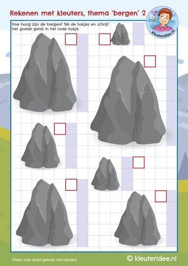 Rekenen met kleuters, thema bergen, counting rocks, mountain theme, kleuteridee 2