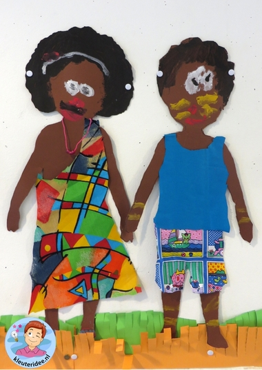 Afrikaanse kinderen knutselen,kleuteridee , thema Afrika 6.