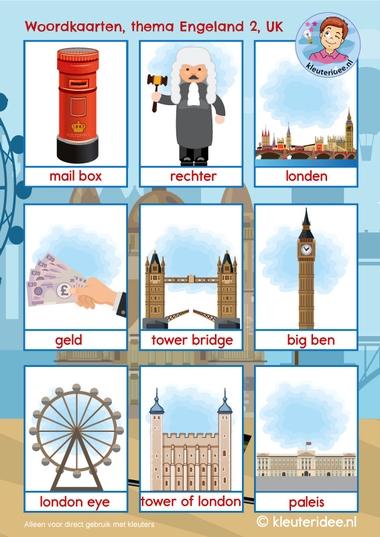 Woordkaarten Engeland UK 2, kleuteridee, free printable