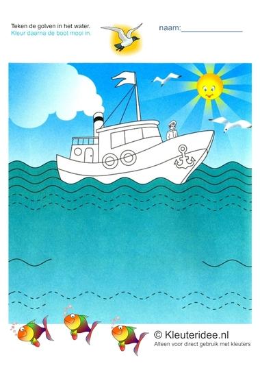 Schrijfpatroon zee voor kleuters, kleuteridee.nl, free printable.