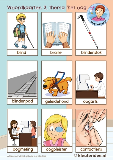Woordkaarten thema 'het oog' voor kleuters,kleuteridee, Kindergarten eye theme 2.