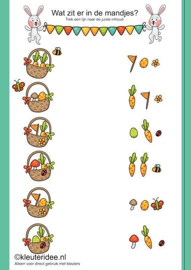 Wat zit er in het mandje, trek een lijn naar de juiste inhoud, kleuteridee.nl , thema lente, free printable.