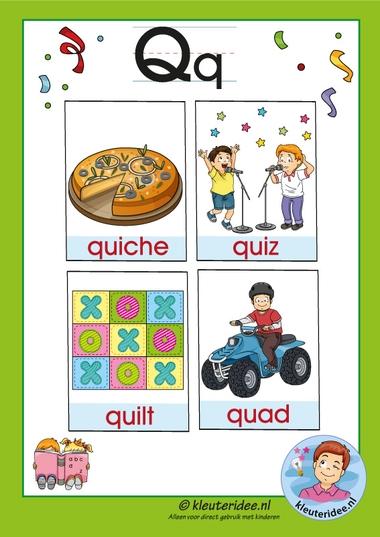 Pakket over de letter q blad 3, woordkaarten met een q, kleuteridee, free printable