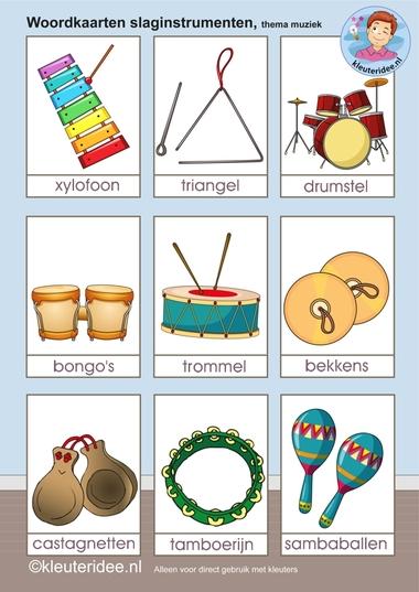 Woordkaarten slaginstrumenten, kleuteridee.nl, free printable.