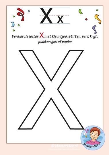 Pakket over de letter x blad 6, versier de hoofdletter X, kleuteridee, free printable
