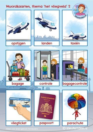 Woordkaarten vliegveld voor kleuters 2, kleuteridee, free printable