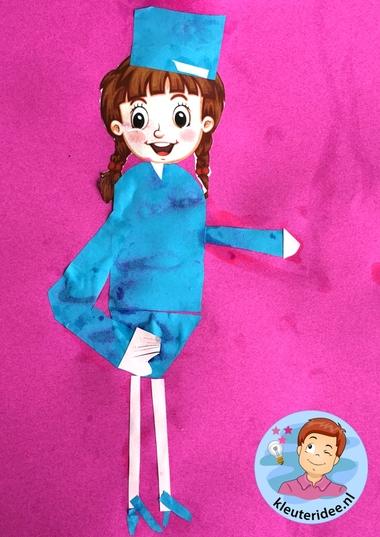 stewardess knippen en plakken, thema vliegveld, kleuteridee, Kindergarten stewardess craft, airport theme 2