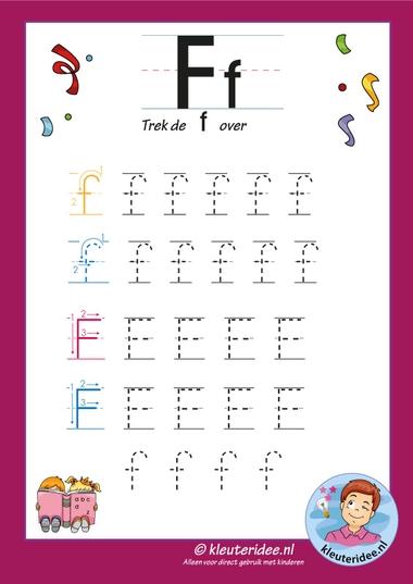 Pakket over de letter f blad 7, trek de letter f over, letters aanbieden aan kleuters, kleuteridee, free printable.