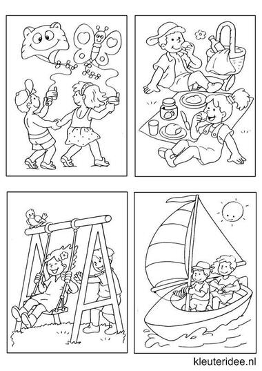 Kleine kleurplaatjes 2, kleuteridee.nl , deze kleurplaatjes maken kleuters echt af ;), free printable.