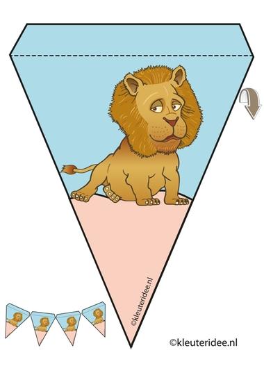 leeuw slinger, thema dierentuin, juf Petra van kleuteridee, lion guirlande, Preschool zoo theme, free printable.