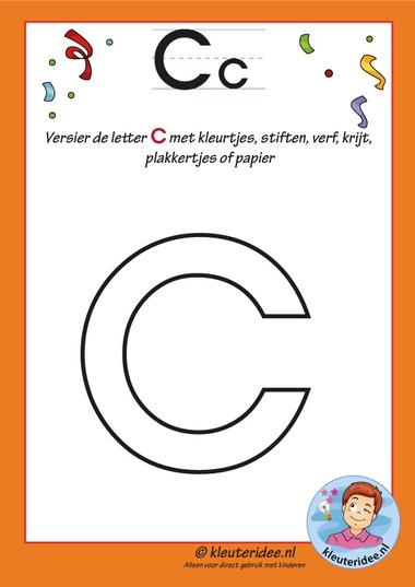 Pakket over de letter c blad 4, versier de letter b, letters aanbieden aan kleuters, kleuteridee.nl, free printable.