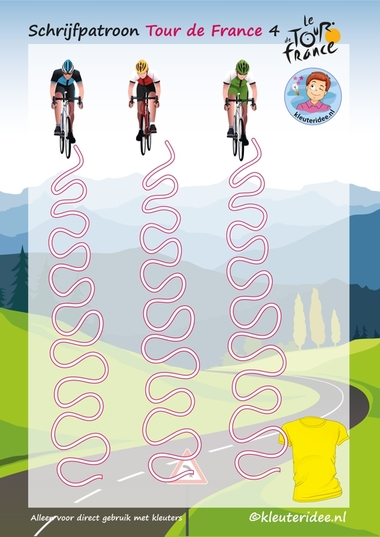 Schrijfpatroon, Tour de France 4, voor kleuters, kleuteridee.nl, Writing pattern free printable.