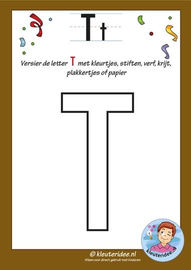 Pakket over de letter t blad 6, versier de hoofdletter T, kleuteridee, free printable