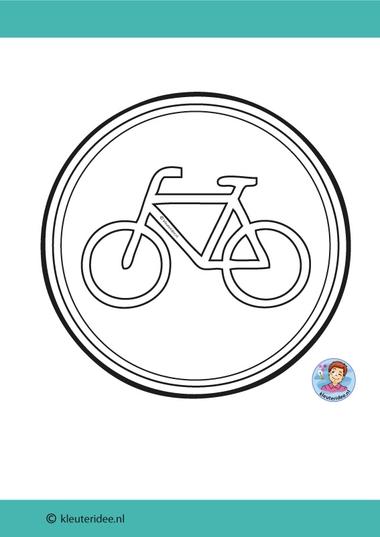 Bord fietspad knutselen, kleuteridee, thema de fiets, met gratis download 3 .jpg