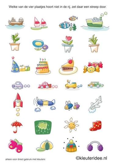 Welke van de vier plaatjes hoort er niet bij 2, kleuteridee.nl, free printable.