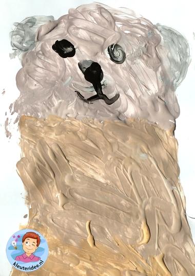 honden naschilderen met kleuters, thema de hond, Kindergarten dog craft, kleuteridee.nl 2