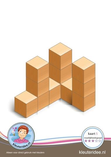 Bouwkaart 5 moeilijkheidsgraad 3 voor kleuters, kleuteridee, Preschool card building blocks with toddlers 5, difficulty 3.