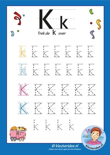 Pakket over de letter k blad 8, trek de k over, kleuteridee, free printable.