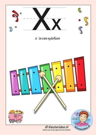 Pakket over de letter x blad 2, letterkaart met een x, kleuteridee, free printable