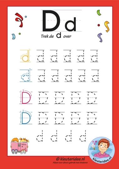 Pakket over de letter d blad 7, trek de letter d over, letters aanbieden aan kleuters, kleuteridee.nl, free printable.