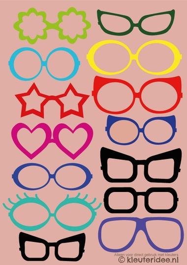 Brillen voor fotocollage, kleuteridee, thema het oog, free printable, kl