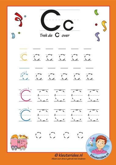 Pakket over de letter c blad 7, trek de letter c over, letters aanbieden aan kleuters, kleuteridee.nl, free printable.