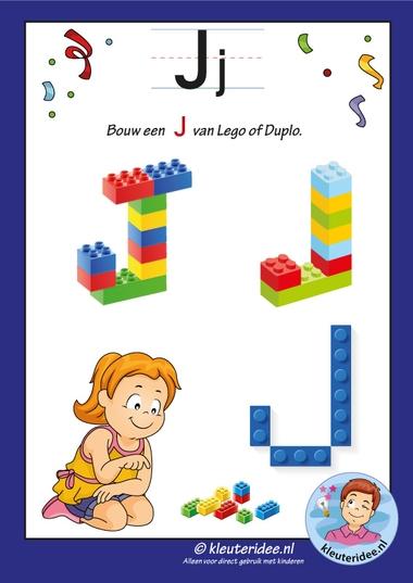 Pakket over de letter J blad 16, maak een I van lego of duplo, kleuteridee, free printable.