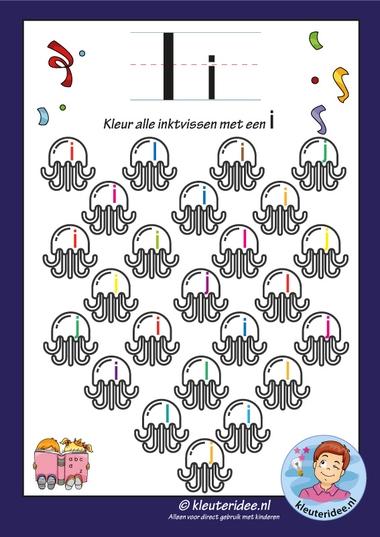 Pakket over de letter i blad 6, kleur alle inktvissen met een i, letters aanbieden aan kleuters, kleuteridee, free printable.