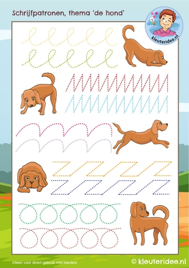 Schrijfpatronen thema de hond, kleuteridee, kindergarten Dog writing patterns, free printable k