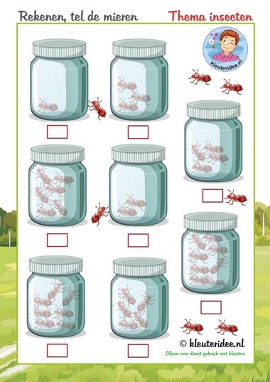 Tel de mieren, thema insecten voor kleuters, kleuteridee.nl, free printable.