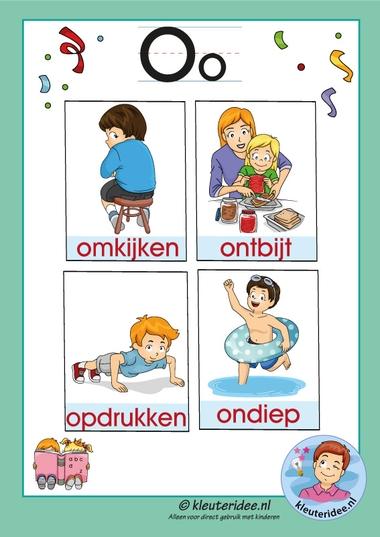 Pakket over de letter o blad 3, woordkaarten met een o, kleuteridee, free printable