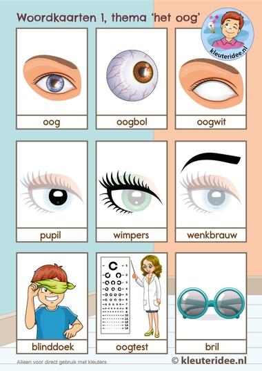 Woordkaarten thema 'het oog' voor kleuters,kleuteridee, Kindergarten eye theme 1.