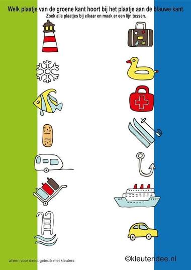 Welk plaatje van de groene kant hoort bij het plaatje aan de blauwe kant, kleuteridee.nl , Which picture of green matches the picture on the blue side., free printable.