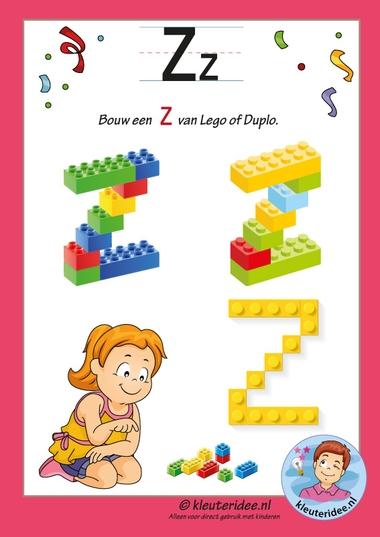 Pakket over de letter z blad 16, maak een Z van lego of duplo, kleuteridee, free printable