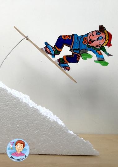 Snowboarder knutselen, kindergarten sowboarding kids craft, mountains theme, thema bergen, kleuteridee 4