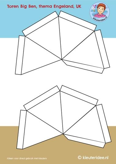Torenspits Big Ben , knipvel, Big Ben craft, kleuteridee