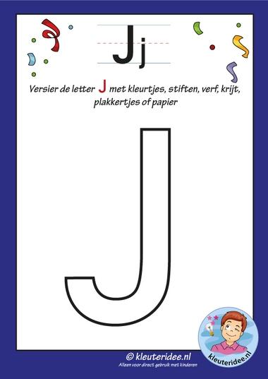 Versier de hoofdletter J, kleuteridee, alle letters free download